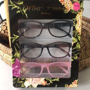 Betsey Johnson +2.00 Readers 3 Pairs Glasses